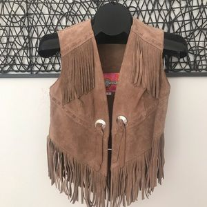1970s Brown Suede Vest with Fringe, Ms Pioneer